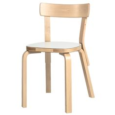 Aalto chair 69, white laminate, by Alvar Aalto.