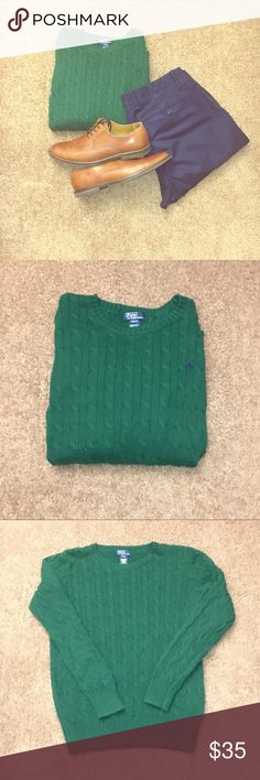 Polo Ralph Lauren Cable Knit Sweater - Green - Cable knit - Boys XL 18-20  - Used - Great condition Polo by Ralph Lauren Shirts & Tops Sweaters
