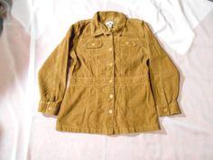 CARIBBEAN JOE brown cord jacket  sz Large EUC    lightweight