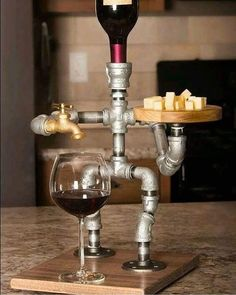 Wine Dispenser - Great Ideas About Wine That You Can Use Whiskey Dispenser, Alcohol Dispenser, Beverage Dispenser, Pipe Decor, Pipe Lamp, Pipe Furniture, Diy Wood Projects, Bottle Crafts, Bars For Home
