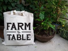 Farm to Table Cotton Canvas Tote Bag Screen Printed by Lamudita