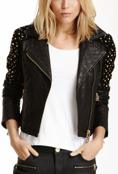 Doma Studded Quilted Moto Jacket