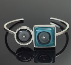 Gray and Turquoise Geometric Cuff Bracelet - Glass and silver cuff bracelet, modern cuff bracelet, every day colors, handmade bracelet