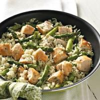 Dilled Chicken and Asparagus  If a delicious chicken and rice entrée is what you're looking for, look no further. This mild herb-flavored rice dish with tender asparagus from Mary Ann Marino of West Pittsburg, Pennsylvania is the answer.