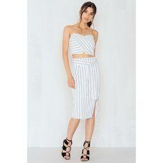 Lucy Paris Skinny Stripe Pencil Skirt ($42) ❤ liked on Polyvore featuring skirts, stripe pencil skirt, white and black pencil skirt, tie waist skirt, stripe skirt and black and white pencil skirts