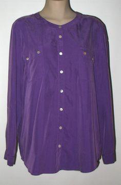 CHICO'S Modal Blend Hi-Low Tunic - Tab Sleeve - Sz 3 (16/18) Purple #Chicos #HighLowbuttontunic #Versatile
