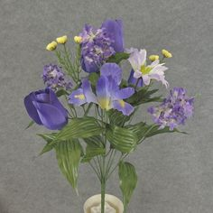 1 Pc, 20 Inch Tulip, Iris (Purple), & Daisy Mixed Bush W/14 Stems Great For Spring Decor