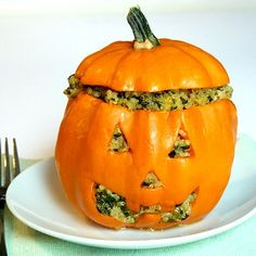 Stuffed Jack!  Prepare the squashes:  2 gold acorn squashes  olive oil  salt   black pepper    In the meantime, make the quinoa stuffing:  1 tbsp olive oil  1/2 cup onion, chopped  1/2 cup mushrooms, chopped  1 garlic clove, minced  1 tbsp fresh parsley, minced  1/4 tsp salt  black pepper to taste  1/2 cup uncooked quinoa  2 tablespoons nutritional yeast  1 cup vegetable broth