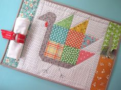 Bee In My Bonnet: Tom Turkey Placemat for the Thanksgiving Kiddie Table!-Free Tutorial for the Tom Turkey Block-YaY! Quilting Tutorials, Quilting Projects, Sewing Projects, Quilting Ideas, Sewing Crafts, Serger Projects, Fall Projects, Sewing Ideas, Thanksgiving Placemats