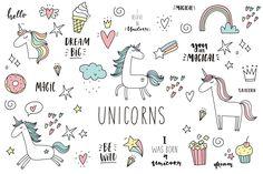 Doodle Unicorn, lettering, patch by Barkova Nadya on @creativemarket