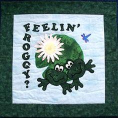 Fun applique wall hanging. Feelin' Froggy? Quilt Pattern JAD-104 by  Joyous Applique Designs - Joy Duke.  Check out our seasonal patterns. https://www.pinterest.com/quiltwomancom/seasonal-patterns/  Subscribe to our mailing list for updates on new patterns and sales! http://visitor.constantcontact.com/manage/optin?v=001nInsvTYVCuDEFMt6NnF5AZm5OdNtzij2ua4k-qgFIzX6B22GyGeBWSrTG2Of_W0RDlB-QaVpNqTrhbz9y39jbLrD2dlEPkoHf_P3E6E5nBNVQNAEUs-xVA%3D%3D