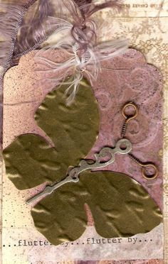 """Butterfly ATC  Swap - by Bruton """"Flutter by..."""" Background from a master board made using some homemade texture paste features a Steampunk Mariposa."""