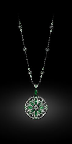 Emerald, White Diamond and Black Diamond Pendant/Necklace - Carnet by Michelle Ong