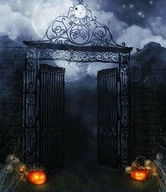 photography backdrops iron pumpkins full moon night halloween backdrop - Halloween Backdrop