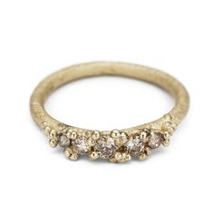Five Stone Ring with Granules - Champagne Diamond-Ruth Tomlinson