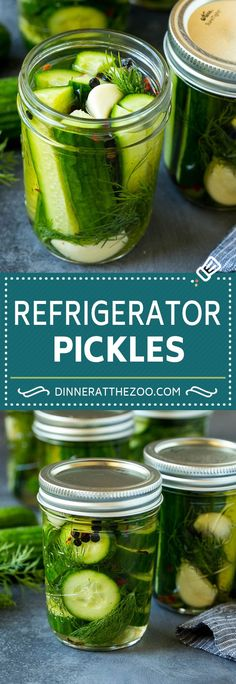 These refrigerator pickles are cucumbers that are pickled in a homemade brine with garlic, dill and spices. They're so easy and delicious! Canning Recipes, Soup Recipes, Dog Food Recipes, Vegetarian Recipes, Healthy Recipes, Recipes Dinner, Potato Recipes, Casserole Recipes, Pasta Recipes