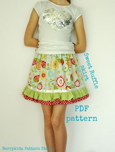 Ruffle skirt pattern Skirt sewing pattern Girls skirt by berrykidz