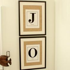 for instructions: http://decorate.tipjunkie.com/burlap-monogram-art-wall-decor/