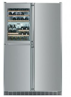 I love these refrigerators with a wine fridge built in! We don't really use freezer space too much, so this is totally an option for us. Panel Ready Refrigerator, Side By Side Refrigerator, Kitchen Refrigerator, Refrigerator Freezer, Wine Fridge, Kitchen Appliances, Kitchen Interior, New Kitchen, Kitchen Design