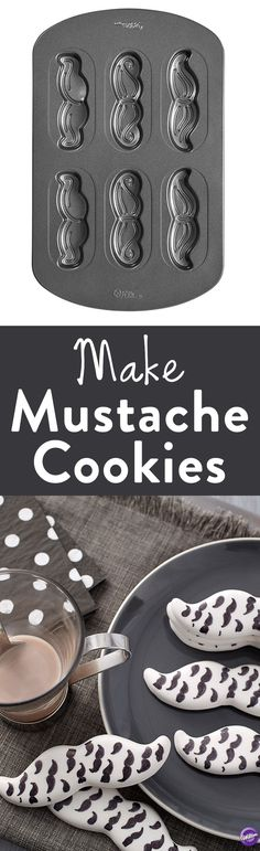 How to Make Mustache Cookies - Make trendy mustache-shaped cookies in the Wilton Mustache Cookie Pan. The Mustache Pan can make two each of three mustache styles: handlebar with curled-up ends, the Pancho Villa with downturned ends, and the traditional chevron. Also add lollipop sticks for edible photo props that are fun for kids and adults alike. Great for birthdays, anniversaries, shower parties and other celebrations.