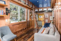 The Cornelia Tiny home by New Frontier Tiny Homes was created for writer Cornelia Funke as a cozy, backwoods guest-house and office. Tiny House Layout, House Layouts, Living At Home, Living Spaces, Living Room, Home Interior Design, Interior And Exterior, Cornelia Funke, Writing Studio
