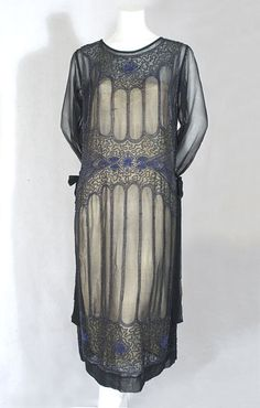 Beaded chiffon dress, 1920s