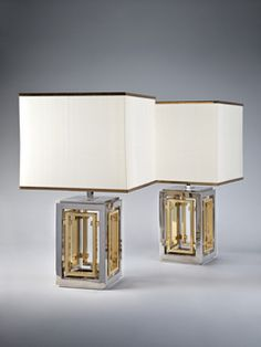 A Pair of Silvered and Brass Lamps by Romeo Rega thumbnail 2
