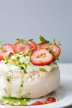 Pavlovas with Strawberries, Vanilla Cream, and Basil Coulis!