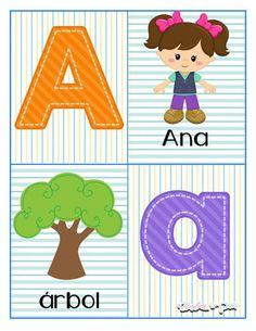 Tarjetas para trabajar el abecedario - Imagenes Educativas Learning Numbers Preschool, Preschool Writing, Preschool Lessons, Kindergarten Worksheets, Teaching Kids, Senses Activities, Abc Activities, Alphabet Letters Images, Letter Games