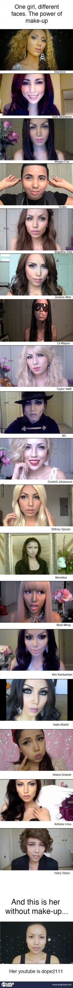 Dope2111 Known as the Human Chameleon or Mystique; using Make-up to transform herself into famous Celebrities and Characters