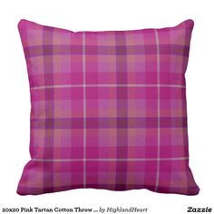 20x20 Pink Tartan Cotton Throw Pillow