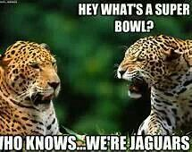 Ha! It's funny but kinda sad - we've never made it to the Super Bowl. http://jaguarsapparel.com/