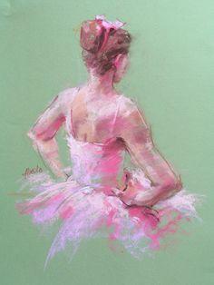 Original Pastel of Ballerina by paintedmoments on Etsy, $50.00