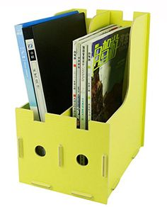 Menu Life Magazine Storage Box Expander File Folder Organiser Magazine File Holder Rack Paper Book Storage Office Desk Organizer (Yellow) Menu Life