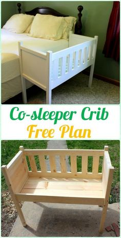 I like this idea for the first few months, seems like it would help you get a bit more sleep. DIY Co-sleeper Crib Instruction - DIY Baby Crib Projects [Free Plans]