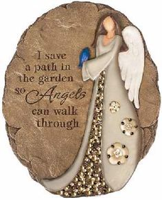 """GARDEN STONE-ANGEL PATH (10.5""""),,Decorative stepping stone with beadwork trim and dimensional angel is a unique accent with the look and feel of natural stone. Garden motif for wall display with keyhole hanger, or the stepping stone may be placed on the ground. 10.5"""" x 8.25""""; I save a path in the garden so Angels can walk through."""