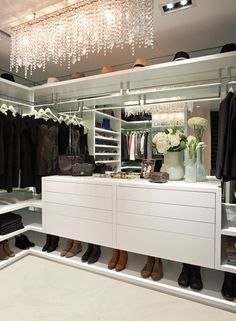 Closet Design Ideas...mirrors on wall behind hanging clothes. will make it feel much more open