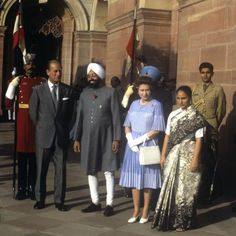 Queen Elizabeth II and the Duke of Edinburgh visiting the Indian President Zail Singh at his palace in New Delhi