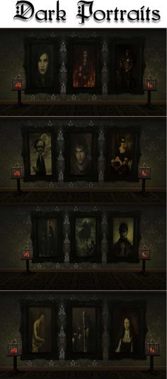 Dark Portraits by Storybrookesims via tumblr | Genre: Vampire - Prints - Paintings | Vampire | Sims 4 | TS4 | Maxis Match | MM | CC | Pin by sueladysims | Should have been done by EA but we have Ivo-Sims ;) Sims Building, Building Ideas, Vampire House, Sims 4 Stories, Dark Paintings, Dark Portrait, Evil Witch, 4 Story, Sims 4 Cc Furniture