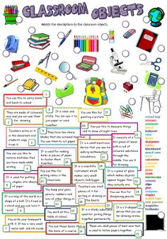 Students have to match simple definitions of classroom objects with the correct pictures. B&W version and KEY included. Hope U find it useful. Thank you for all your nice comments. English Primary School, English Classroom, Classroom Language, Teaching English Grammar, English Grammar Worksheets, English Vocabulary, English Games, English Activities, Teaching Activities