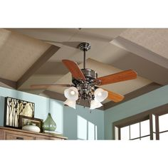 Shop Harbor Breeze Edenton 52 In Polished Pewter Downrod Or Flush Mount Ceiling Fan With