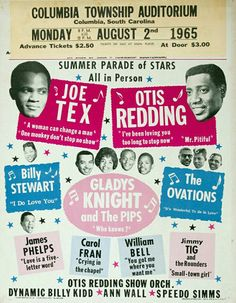 Concert Poster - Joe Tex, Otis Redding & more. Less than two years later Redding would die tragically in a plane crash - August 1965 Band Posters, Event Posters, Tour Posters, Vintage Concert Posters, Otis Redding, Soul Singers, Sweet Soul, Music Images, Rock Concert
