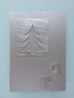 Handmade Christmas Card Silver Christmas Tree with Pressed Ivy Leaves £3.00
