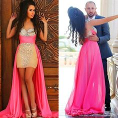 Cool 2017 Hi-Lo Chiffon Prom Formal Dresses Beads Sequins Short Evening Party Gowns Prom Dresses Check more at http://myclothestrend.com/product/2017-hi-lo-chiffon-prom-formal-dresses-beads-sequins-short-evening-party-gowns-prom-dresses/