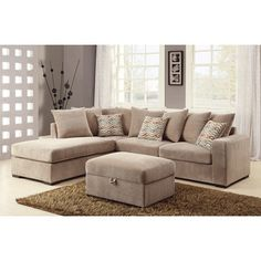 Chesterfield Sofa Coaster Company Taupe Chenille Cushioned Sectional Overstock Shopping The Best Deals on