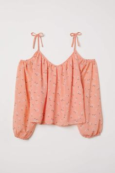 Off-the-shoulder blouse in airy crêped fabric. V-neck at front and back narrow tie-top shoulder straps and long sleeves with elasticized cuffs. Partly lined. Girls Fashion Clothes, Teen Fashion Outfits, Cute Summer Outfits, Tween Fashion, Cute Casual Outfits, Outfits For Teens, Stylish Outfits, Girl Outfits, Jugend Mode Outfits