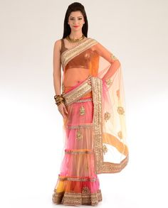 Multicolored Net Lengha Sari with Gota Work - Exclusively In