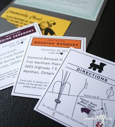 Pocket Monopoly  Monopoly Board Game Themed Wedding by oneLittleM  Not doing these because it would be way too expensive, but how awesome is that!?