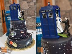 14 Sweet Geeky Cakes That You Won't Want to Eat - #DoctorWho wedding cake #TARDIS #geekcakes