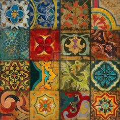 "Arabian Nights I by John Douglas -- It's a print though. And I wonder why he calls it ""Arabian nights"" since those tiles are not at all arabian. More Spanish, or Mexican or Italian. John Douglas, Color Palette Generator, Vinyl Paper, Arabian Nights, Vintage Diy, Vintage Farmhouse, Tile Patterns, Morrocan Patterns, Zentangle Patterns"